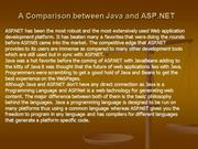 A Comparison between Java and ASP.NET