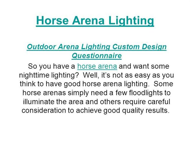 sc 1 st  authorSTREAM & Horse Arena Lighting |authorSTREAM
