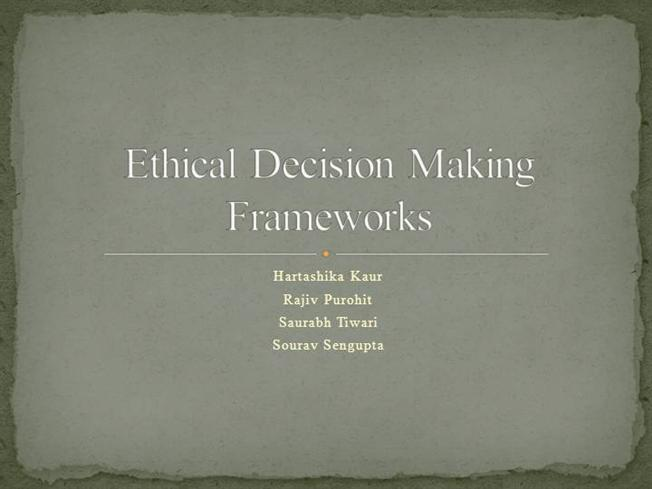ethics and decision making essay The impact of ethics on decision making ferrel and gardiner (1991) say there are two criteria to ethical choices on top of being legal the first being one does not infringe on the basic inalienable human rights - such as life, freedom of speech and privacy, due process - recognized by our society (ethical formalism).