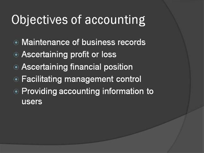 accounting aims and objectives