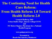 Continuing Need for Health Care Reform