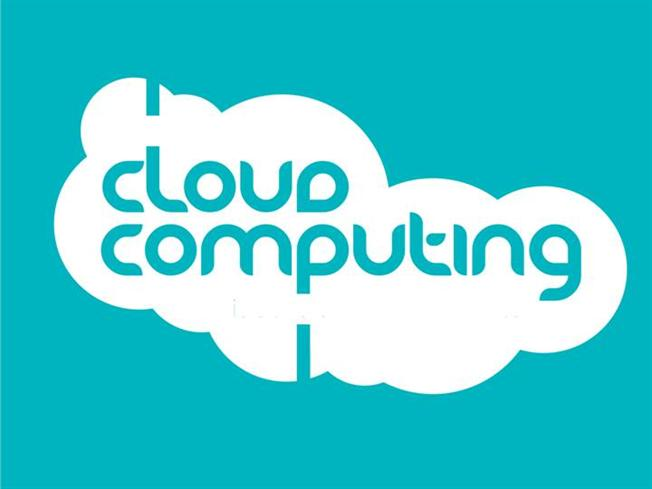 Cloud computing on blue powerpoint templates.