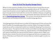 How To Find The Quality Garage Doors