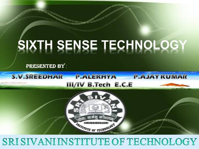 pranav mistry sixth sense technology ppt free download