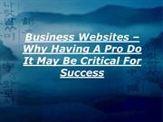 Business Websites – Why Having A Pro Do It May Be Critical For Success