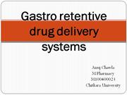 Gastro retentive drug delivery systems
