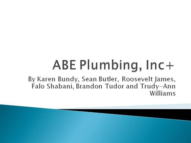 ABE Plumbing Inc With Internal Control Weaknesses