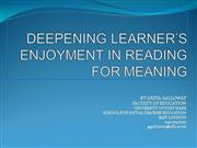 Eepening learners enjoyment in reading f