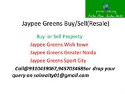 Jaypee Greens Golf plots Noida Sell buy resale