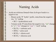Naming Binary & Ternary Acid Formulas