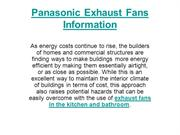 Panasonic Exhaust Fans Information