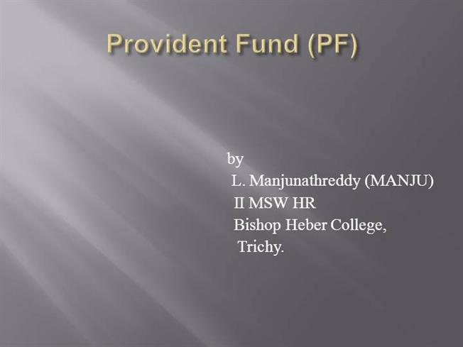 Provident Fund Act 1952 Pdf