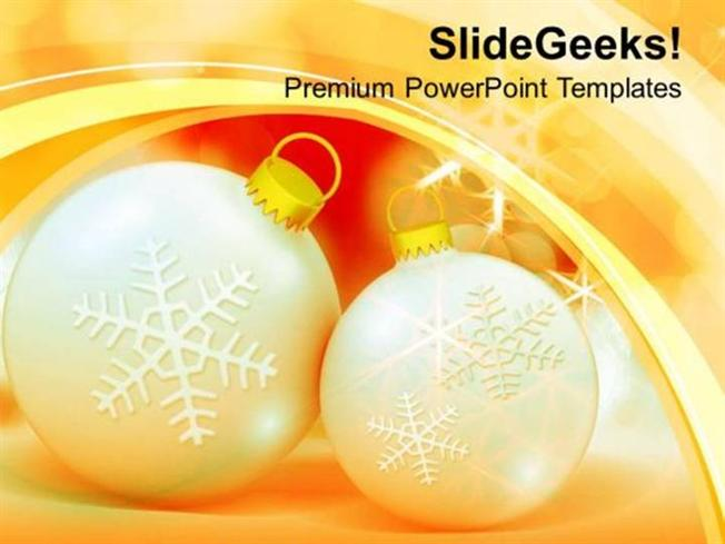christmas golden bauble with christmas snowflakes ppt template