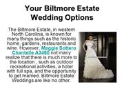 Your Biltmore Estate Wedding Options