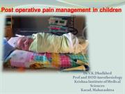 Post operative pain management in children