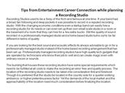 Tips from Entertainment Career Connection while planning a Recording S