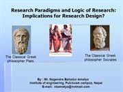 Research Paradigms and Logic of Research