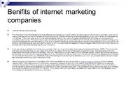 Benifits of internet marketing companies