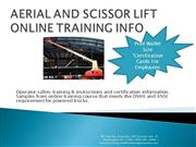 AERIAL AND SCISSOR LIFT ONLINE TRAINING INFO