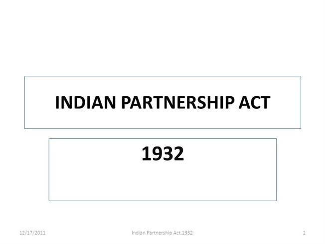PARTNERSHIP ACT 1932 EBOOK