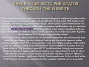 Check Your IRCTC PNR STATUS through the website