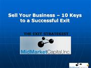 Sell Your Business - 10 Keys to Succes