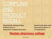 Complaint and Recal