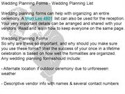 Wedding Planning Forms - Wedding Planning List
