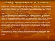 Securing Applications built on .NET Framework