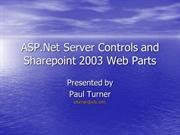ASP.Net Web Controls and Web Parts