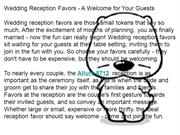 Wedding Reception Favors - A Welcome for Your Guests