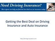Getting the Best Deal on Driving Insurance and Auto Insurance