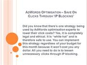 AdWords Optimisation Save On Clicks Through Blocking
