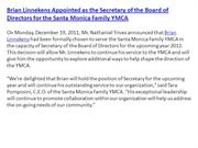 Brian Linnekens Appointed as the Secretary of the Board of Directors f