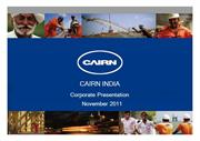 Cairn India Ltd Corporate Presentation Nov 2011