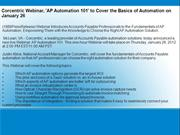 Corcentric Webinar, 'AP Automation 101' to Cover the Basics of Automat
