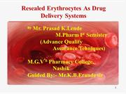 Resealed Erythrocytes As A Drug Carrier