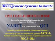 Lead Auditor- QMS