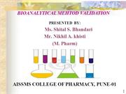 BIOANALYTICAL METHOD VALIDATION