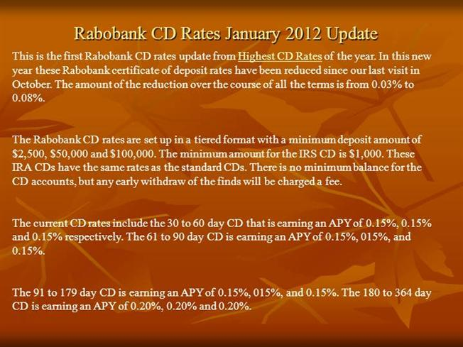 Rabobank Cd Rates January 2012 Update Authorstream