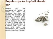 Popular tips to buy/sell Honda car
