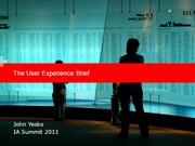 The User Experience Brief & History
