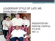 LEADERSHIP STYLE OF LATE MR 1