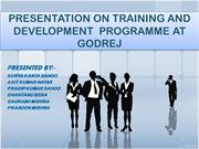 PRESENTATION ON TRAINING AND DEVELOPMENT AT GODREJ (GROUP-5)