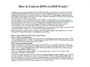 How to Convert DWG to DXF Freely