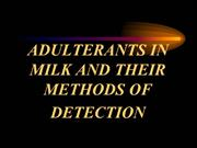 Adulteration of milk