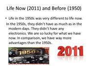 humanities 1950 and 2011 project