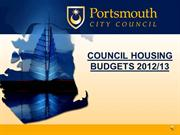 COUNCIL HOUSING BUDGETS 2012 Web Site