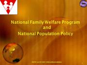 National Family Welfare Program & Population Policy