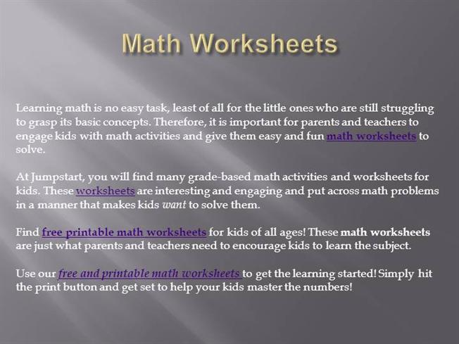 Math Worksheets Authorstream